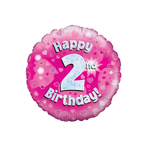 Pink 2nd Birthday Holographic Balloon in a Box