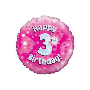 Pink 3rd Birthday Holographic Balloon in a Box