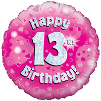 Pink 13th Birthday Holographic Balloon in a Box