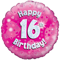 Happy 16th Birthday Girl Holographic Balloon in a Box