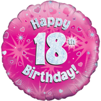 "Happy 18th Birthday Pink Holographic 18"" Balloon in a Box"