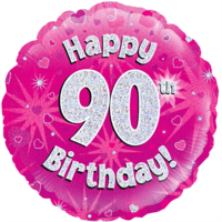 "18"" Happy 90th Birthday Holographic Pink Balloon in a Box"