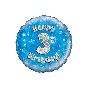 Blue 3rd Birthday Holographic Balloon in a Box