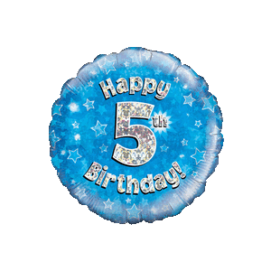 Blue 5th Birthday Holographic Balloon in a Box