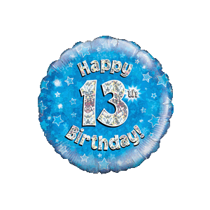 Blue 13th Birthday Holographic Balloon in a Box