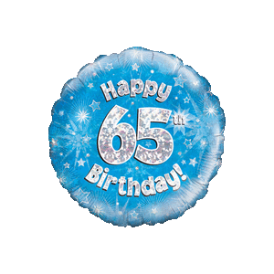 Happy 65th Birthday Boy Holographic Balloon in a Box
