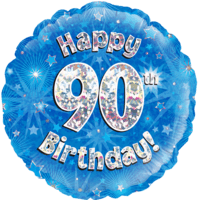 """18"""" Happy 90th Birthday Blue Holographic Balloon in a Box"""