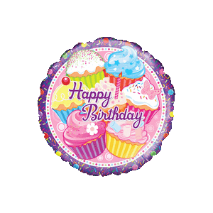Happy Birthday Colourful Cupcakes Balloon in a Box