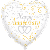 Happy Anniversary Entwined Hearts Balloon in a Box