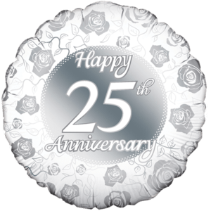 Happy 25th Anniversary Rose Print Balloon in a Box