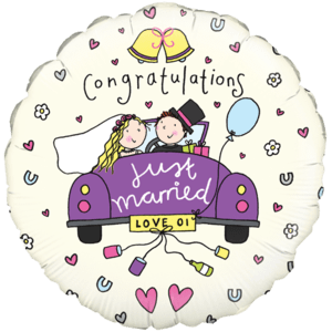 Just Married Confetti Love  Balloon in a Box