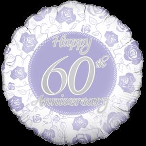 Happy 60th Rose Print Anniversary  Balloon in a Box