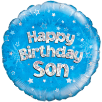 "Happy Birthday Son Blue Holographic 18"" Balloon in a Box"
