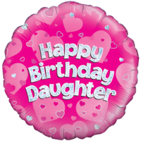 "18"" Happy Birthday Daughter Pink Holographic Balloon in a Box"