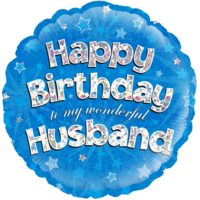 "18"" Happy Birthday to my Wonderful Husband Blue Holographic Balloon in a Box"