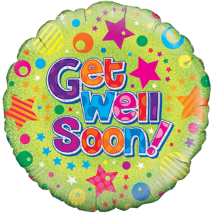 Get Well Soon! Holographic Stars Balloon in a Box