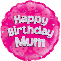 "18"" Happy Birthday Mum Pink Holographic Balloon in a Box"