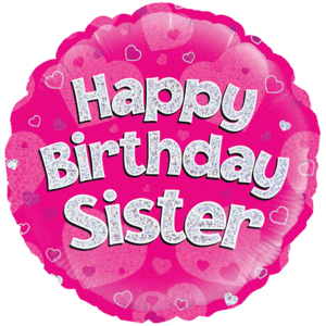 "18"" Happy Birthday Sister Pink Holographic Balloon in a Box"