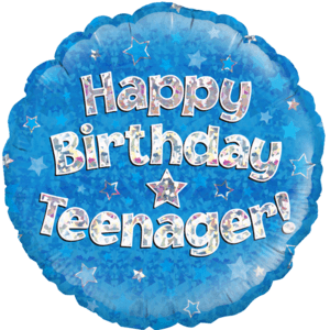 "18"" Happy Birthday Teenager Blue Balloon in a Box"