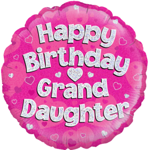 "18"" Happy Birthday Granddaughter Pink Balloon in a Box"
