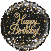 Sparkling Fizz Birthday Black and Gold Balloon in a Box