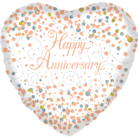 Sparkling Fizz Happy Anniversary White & Rose Balloon in a Box
