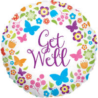 Butterflies & Flowers Get Well Holographic Balloon in a Box