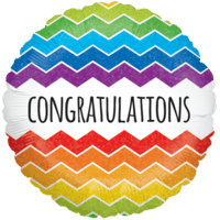 Congratulations Colourful Chevrons Balloon in a Box