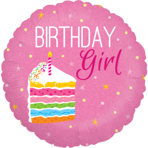 Birthday Cake Girl Holographic Balloon in a Box