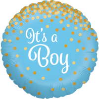 Glittering It's a Boy Holographic Balloon in a Box