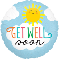 Get Well Soon Sun Holographic Balloon in a Box