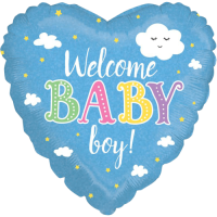 Welcome Baby Boy Holographic Balloon in a Box