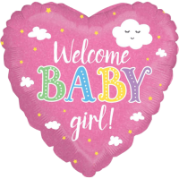 Welcome Baby Girl Holographic Balloon in a Box
