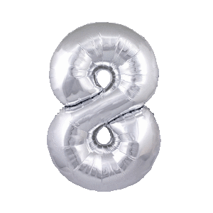 Giant Silver 8 Balloon in a Box