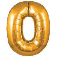 Large Gold 0 Balloon in a Box