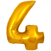 Large Gold 4 Balloon in a Box