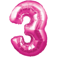 Large Pink 3 Balloon in a Box
