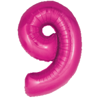 Large Pink 9 Balloon in a Box