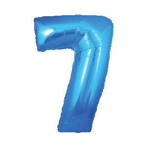 Giant Blue 7 Balloon in a Box