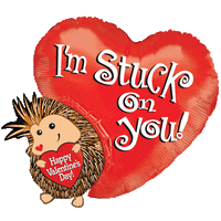 Stuck on You Hedgehog Valentine Balloon in a Box