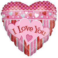 I Love You Hearts Holographic Balloon in a Box