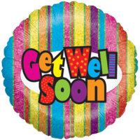 Get Well Glittery Stripes Balloon in a Box