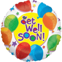 Balloons Stars Get Well Holographic Balloon in a Box