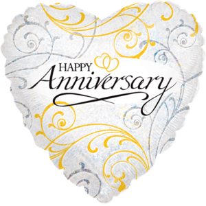 Happy Anniversary Filigree Print Balloon in a Box
