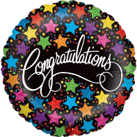 Congratulations Bold Stars Balloon in a Box