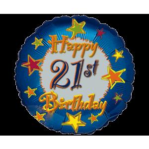 Starry 21st happy Birthday Balloon in a Box