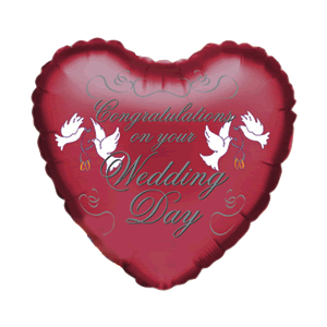 Red Congrats on Your Wedding Day Heart Balloon in a Box