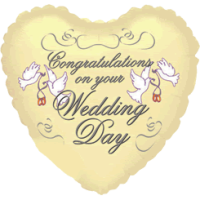Ivory Heart Congratulations Wedding Day Balloon in a Box