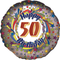 50th Birthday Holograhic Swirl Balloon in a Box
