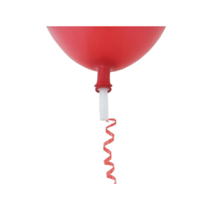 100 Valves for Latex balloons with Red Ribbon - Fitted Product Display